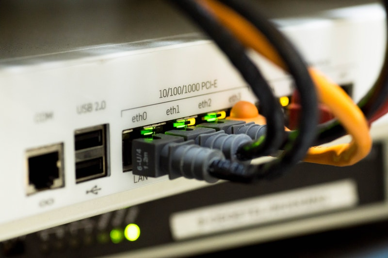 An network switch with cables connected